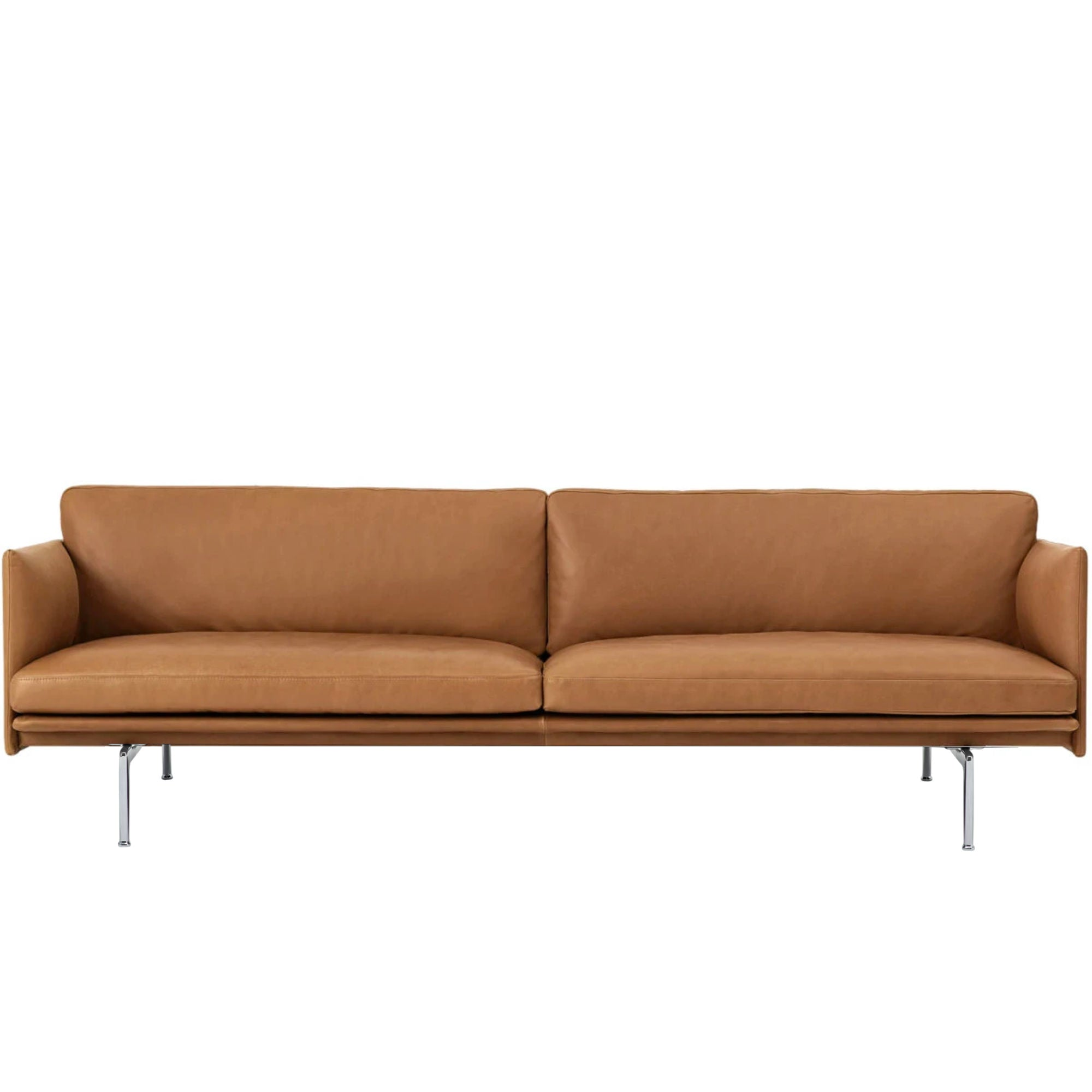 Muuto Outline Sofa 3-Seater Polished Aluminium Base , Refine Leather Cognac