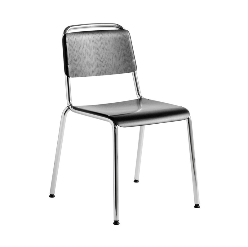 HAY Halftime chair, chrome, black stained oak
