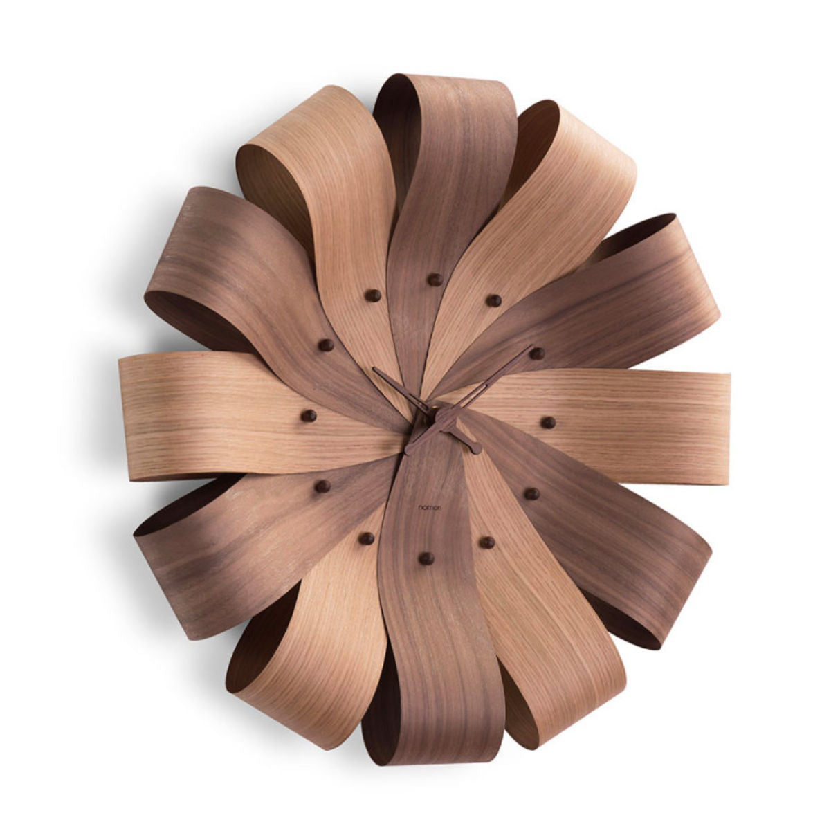 Nomon Cicle wall clock, oak & walnut
