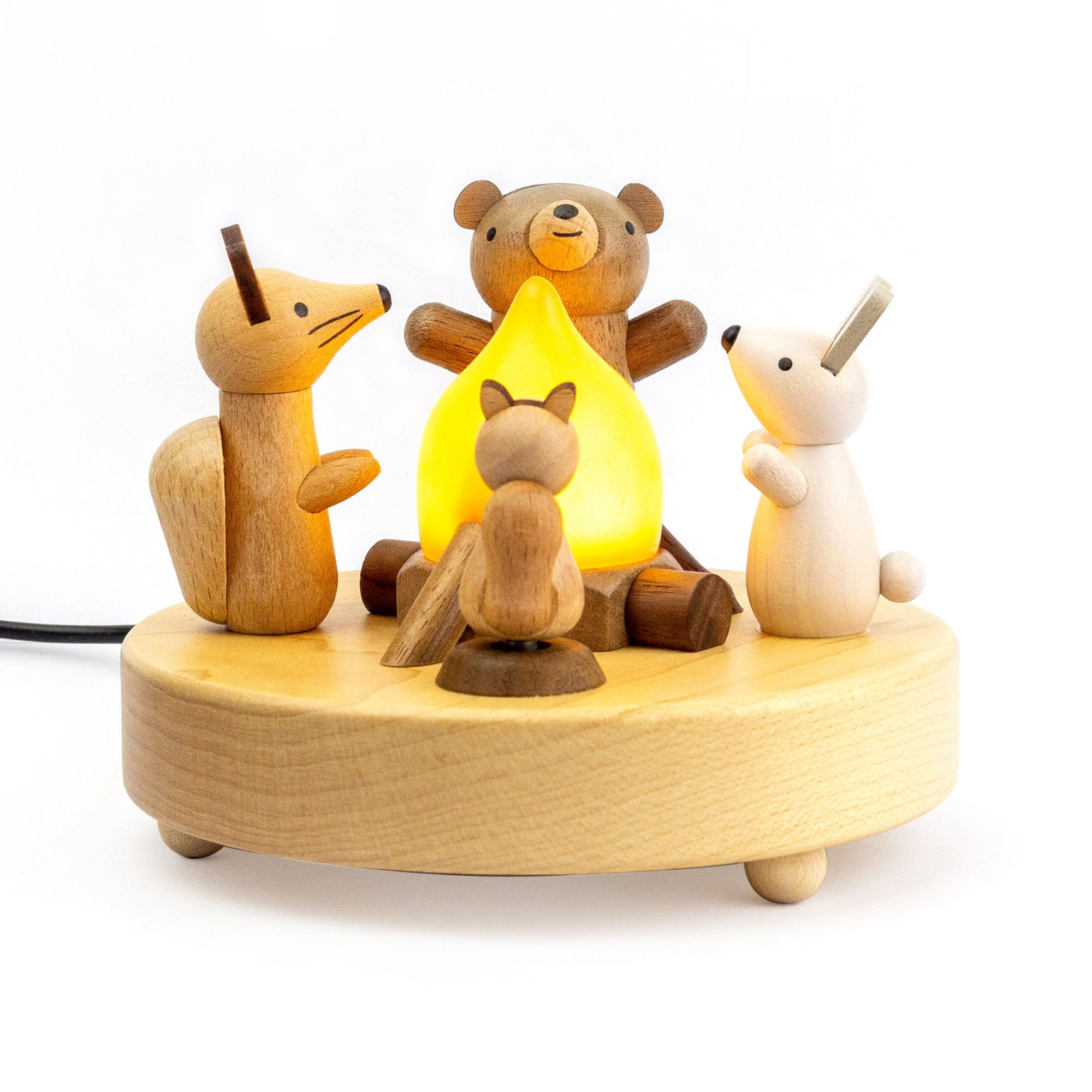 Wooderful Life wooden lamp, animals campfire