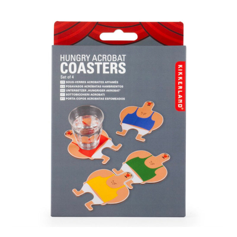 Kikkerland Hungry Acrobat coasters, set of 4