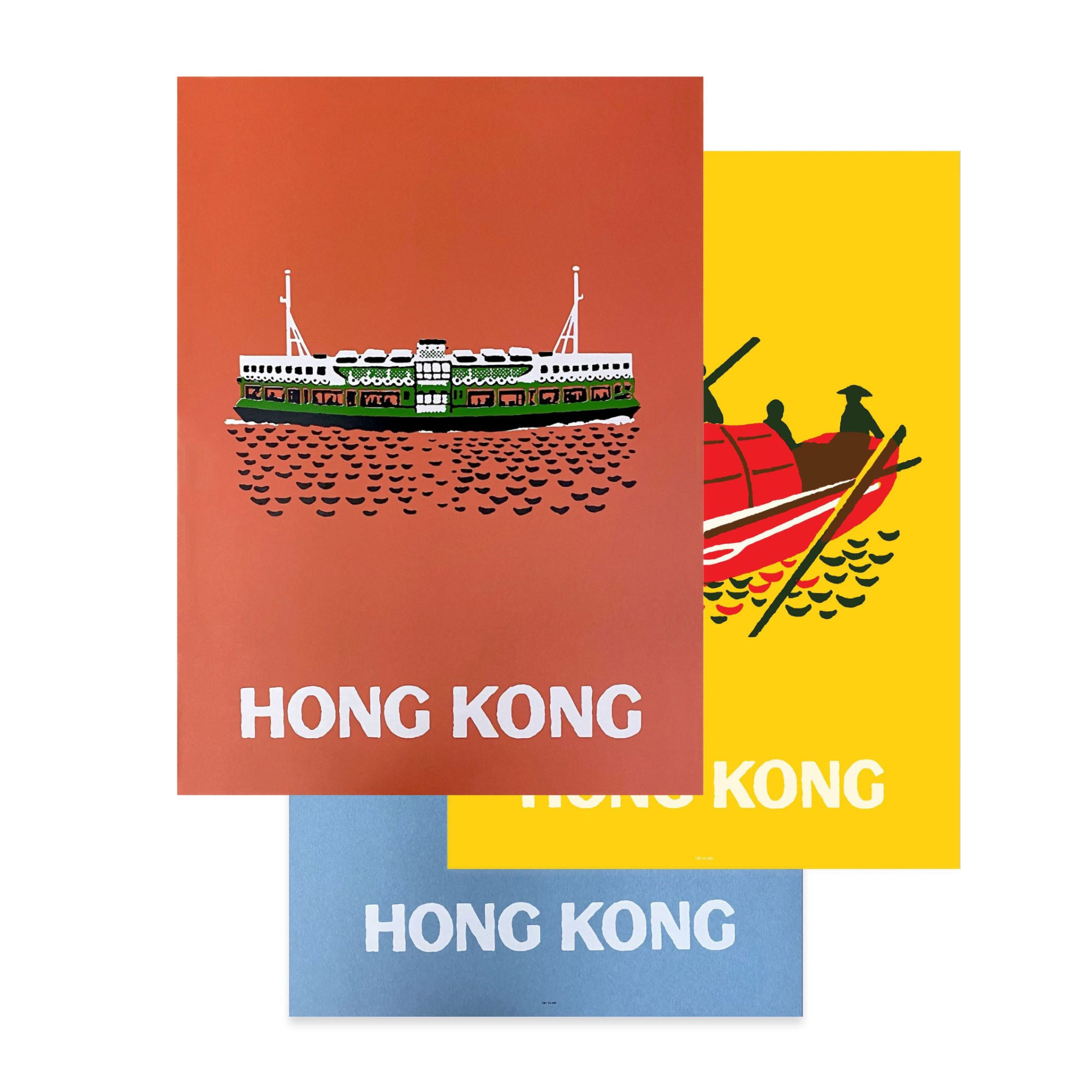 Tiny Island Floating Icons Silkscreen Poster Set-of-3