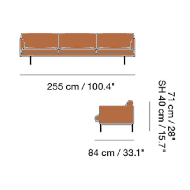 Muuto Outline Sofa 3 1/2-Seater Black Base , Refine Leather Cognac