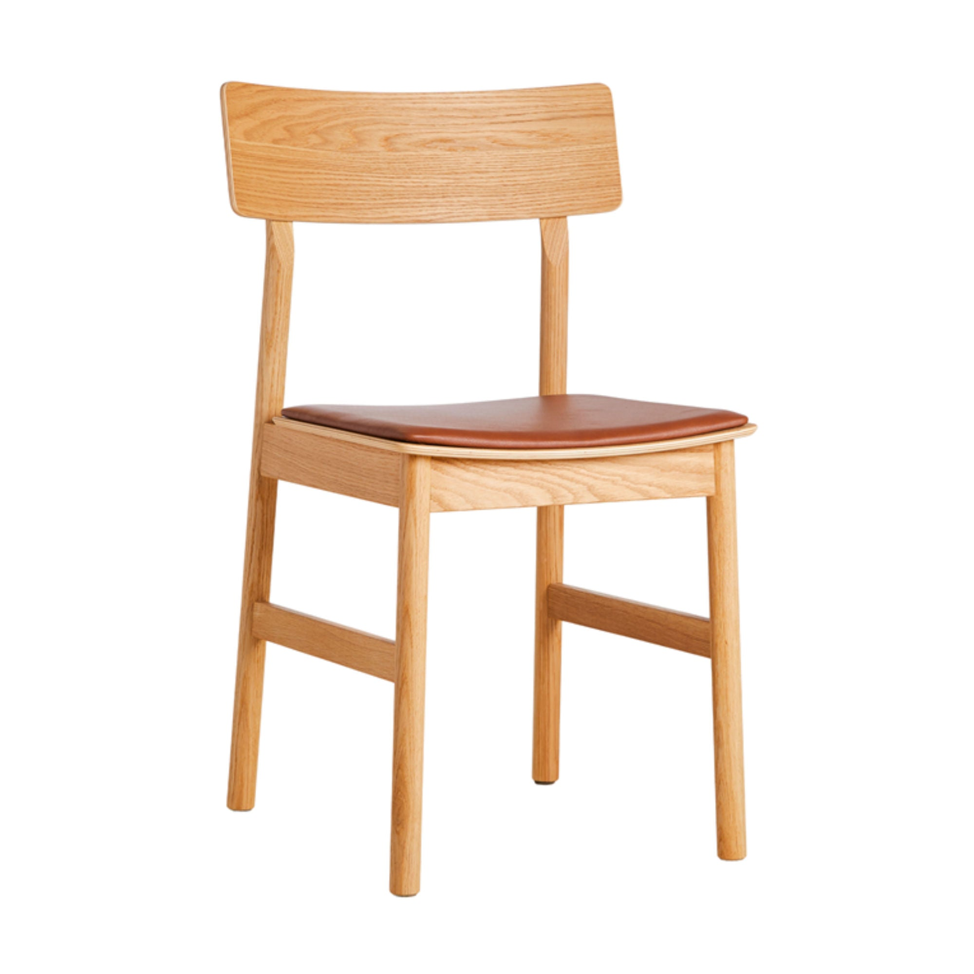 Woud Pause Dining Chair , Oiled Oak-Cognac Leather Seat