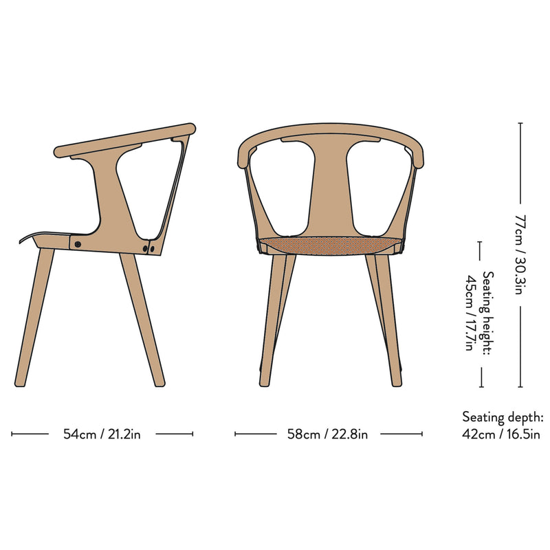 &Tradition SK2 In Between Chair , Cognac250 - White Oiled Oak