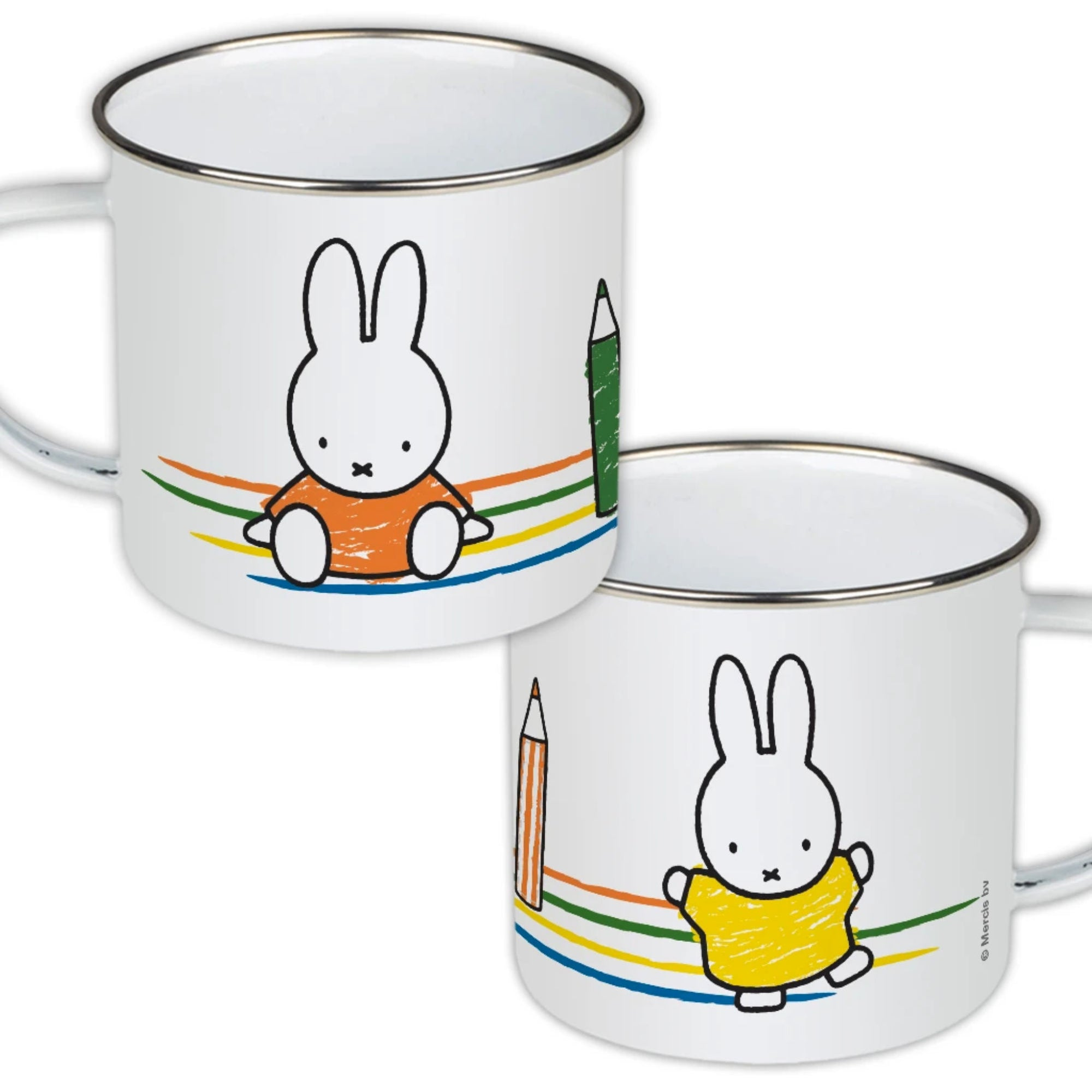 Miffy Enamel Mug, colouring pencils