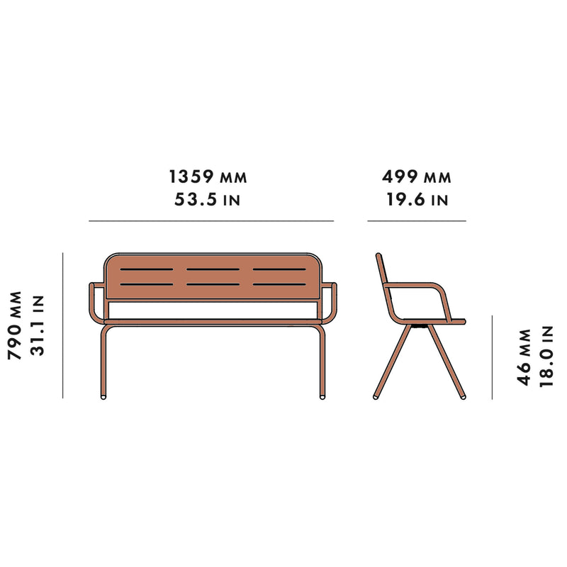 Woud Ray Bench w. Armrest , Corten