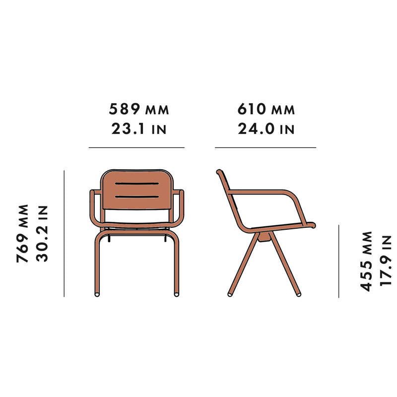 Woud Ray Dining Chair , Corten