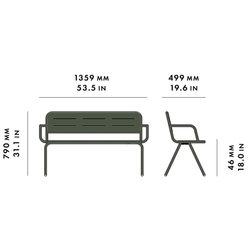 Woud Ray Bench w. Armrest , Dark Green