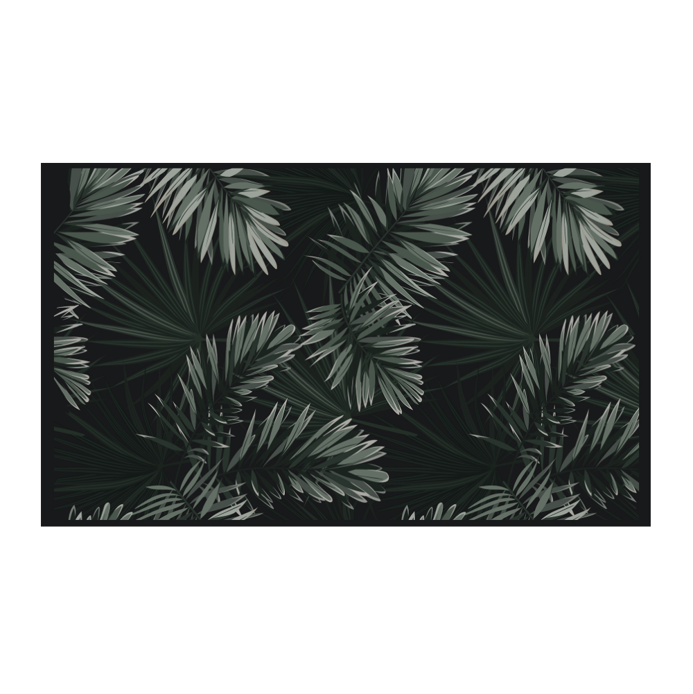 Podevache Vinyl Floor Mat Dark Palm Leaves 66x99cm