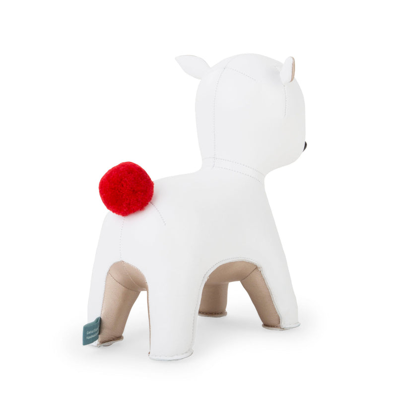 Zuny Red Pom Pom Deer Pipi bookend , white-pearl gold