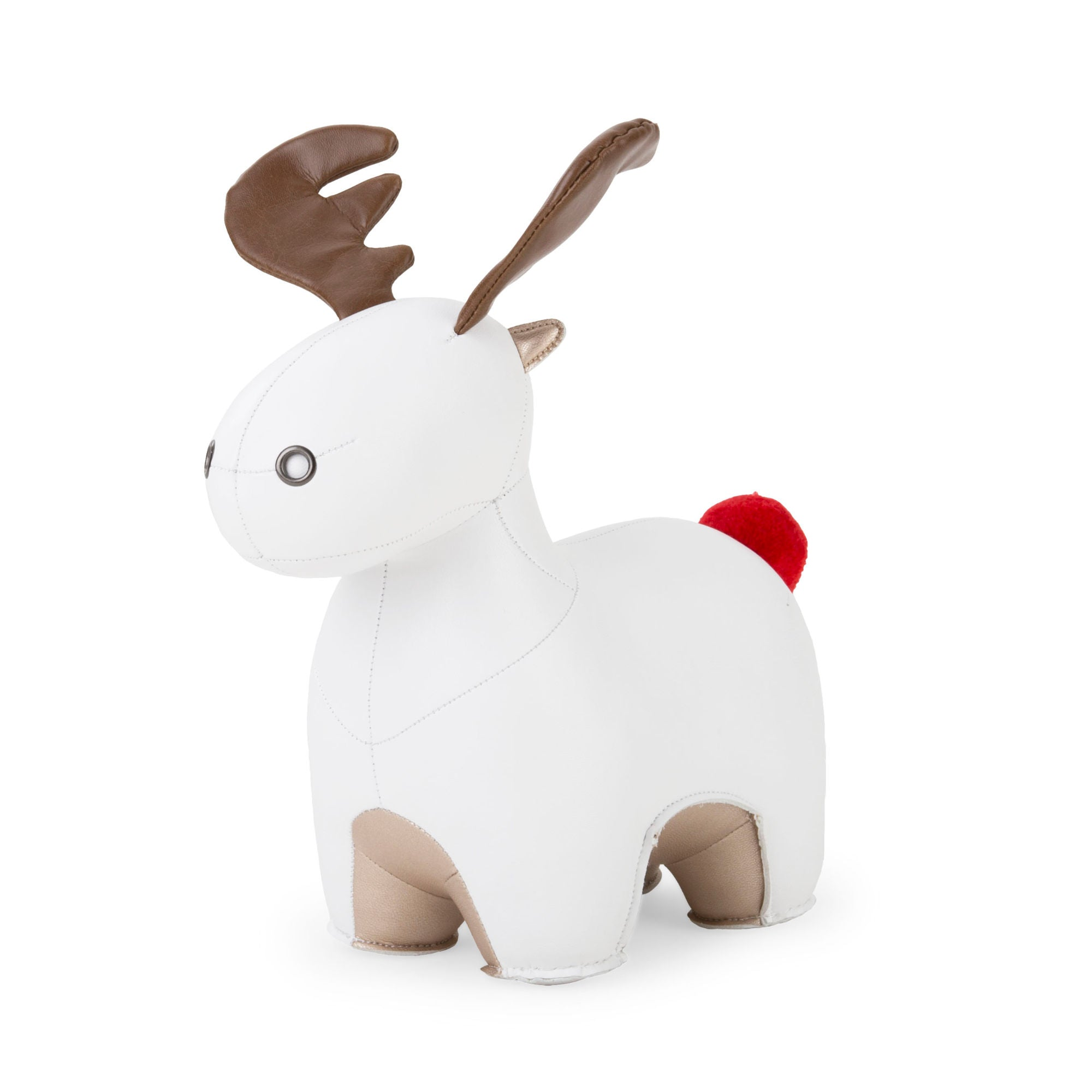 Zuny Red Pom Pom Moose Rudo bookend , white-pearl gold
