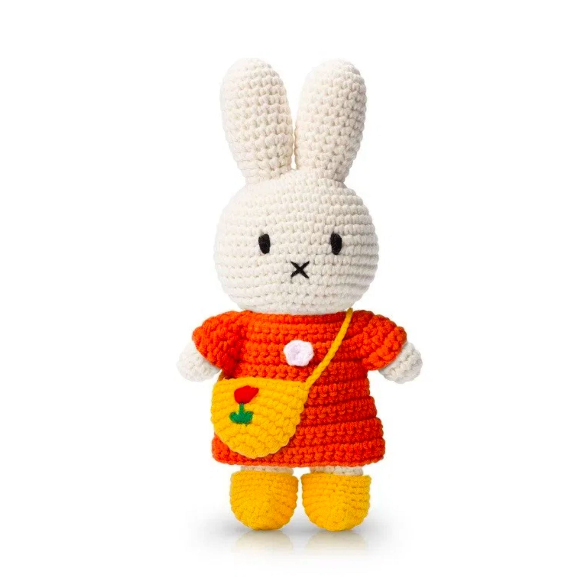 Just Dutch handmade doll, Miffy and her orange dress - yellow tulip bag and shoe