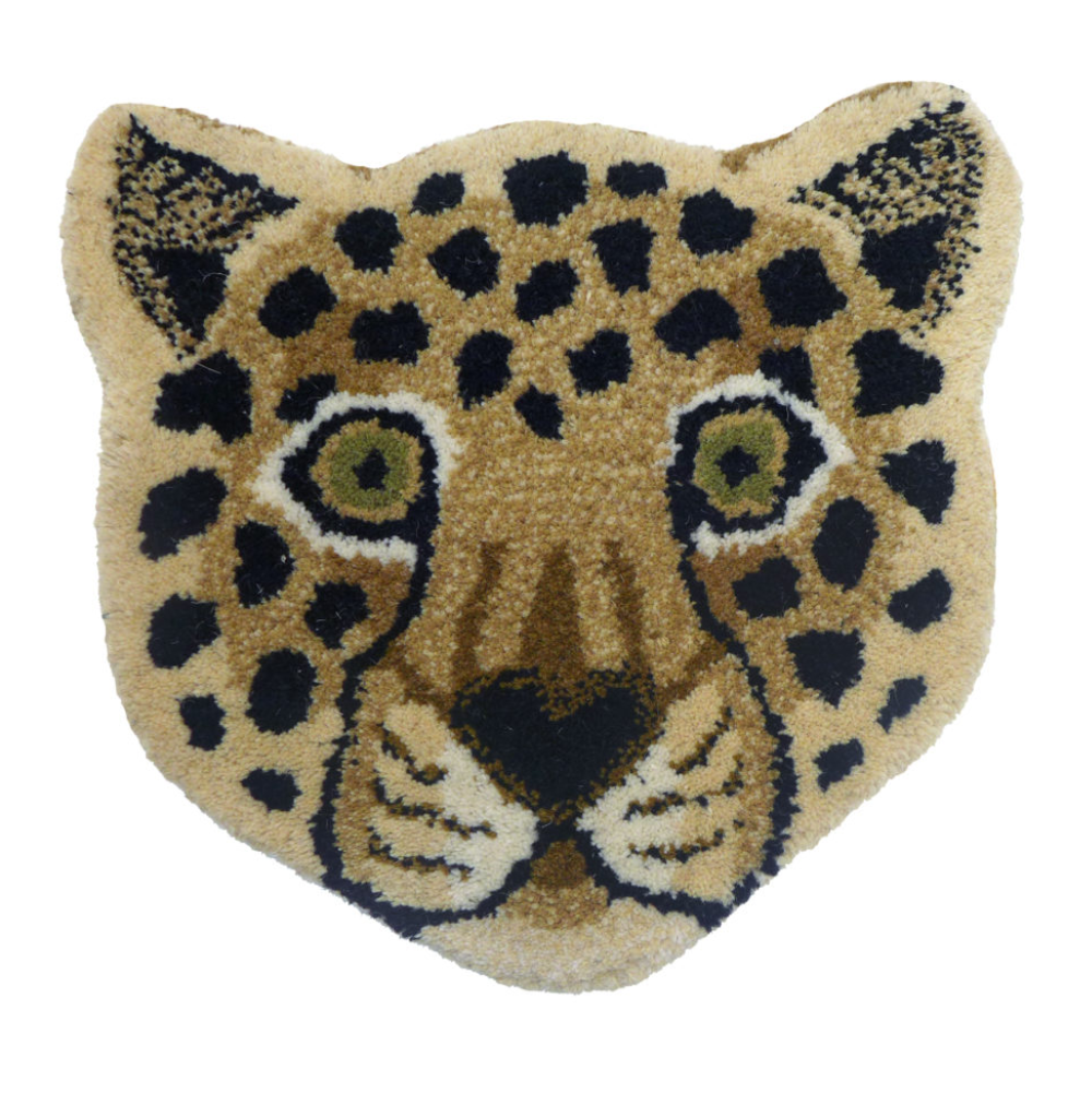 Doing Goods Leopard Head Rug 32x32cm