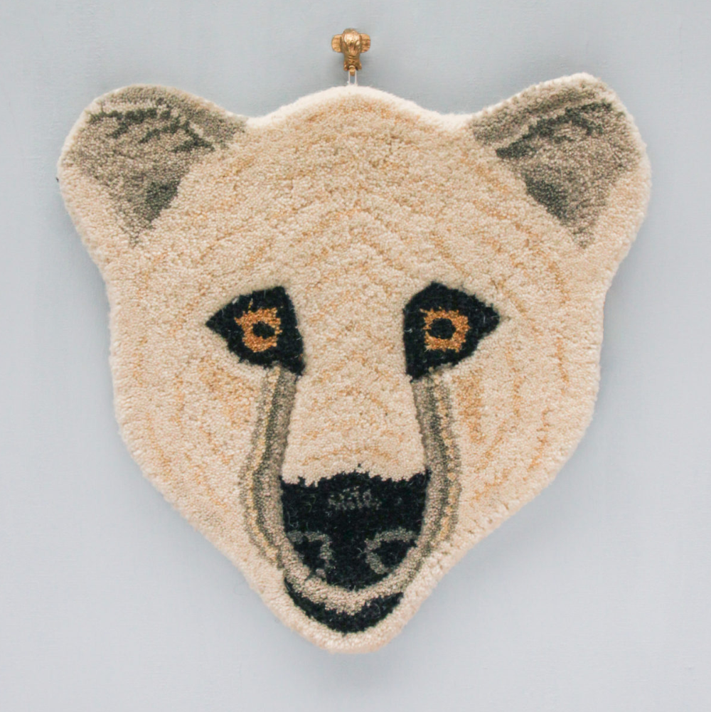 Doing Goods Polar Bear Head Rug 32x32cm
