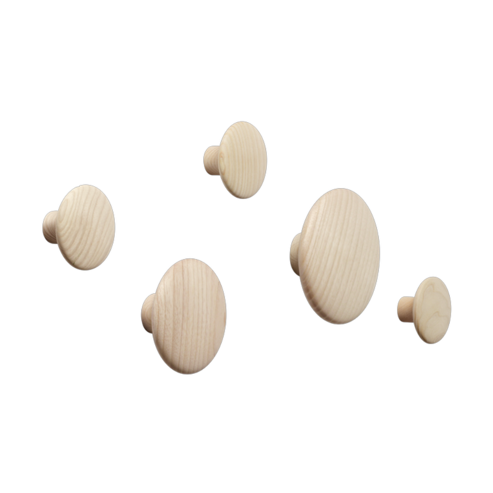 Muuto The Dot coat hooks, set of 5, oak