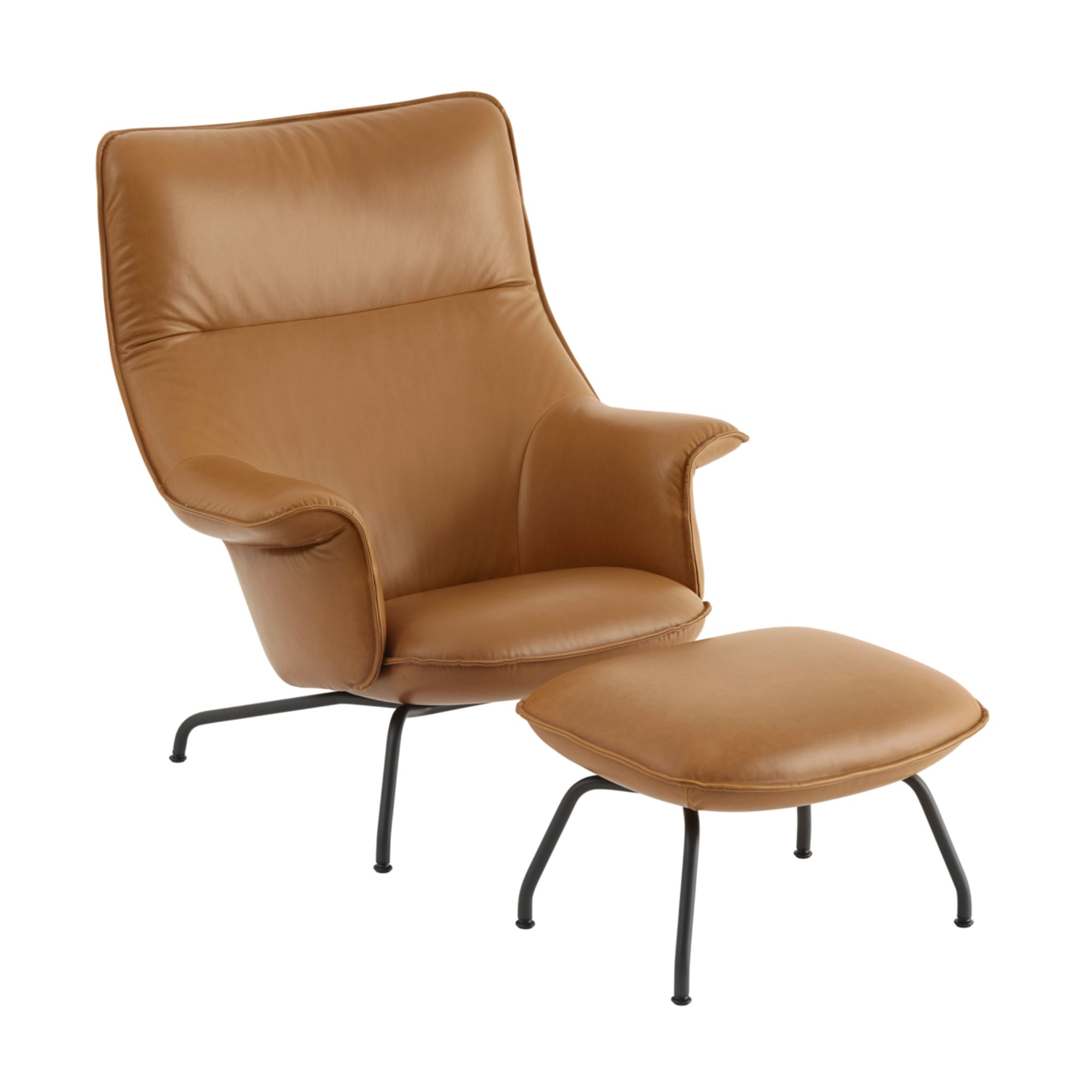 Muuto Doze Lounge Chair w. Ottoman , Refine Leather Cognac/Anthracite Black