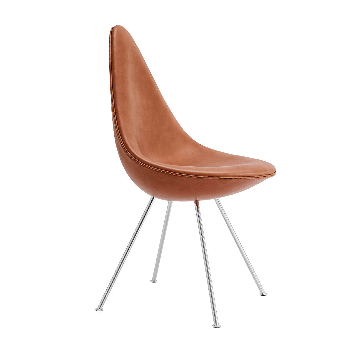Fritz Hansen Drop chair, upholstered, elegance leather, walnut