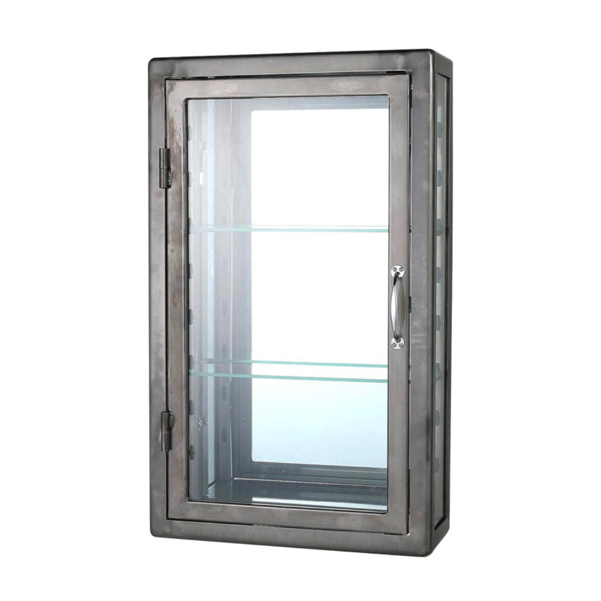 Dulton Wall Mount Glass Cabinet, raw