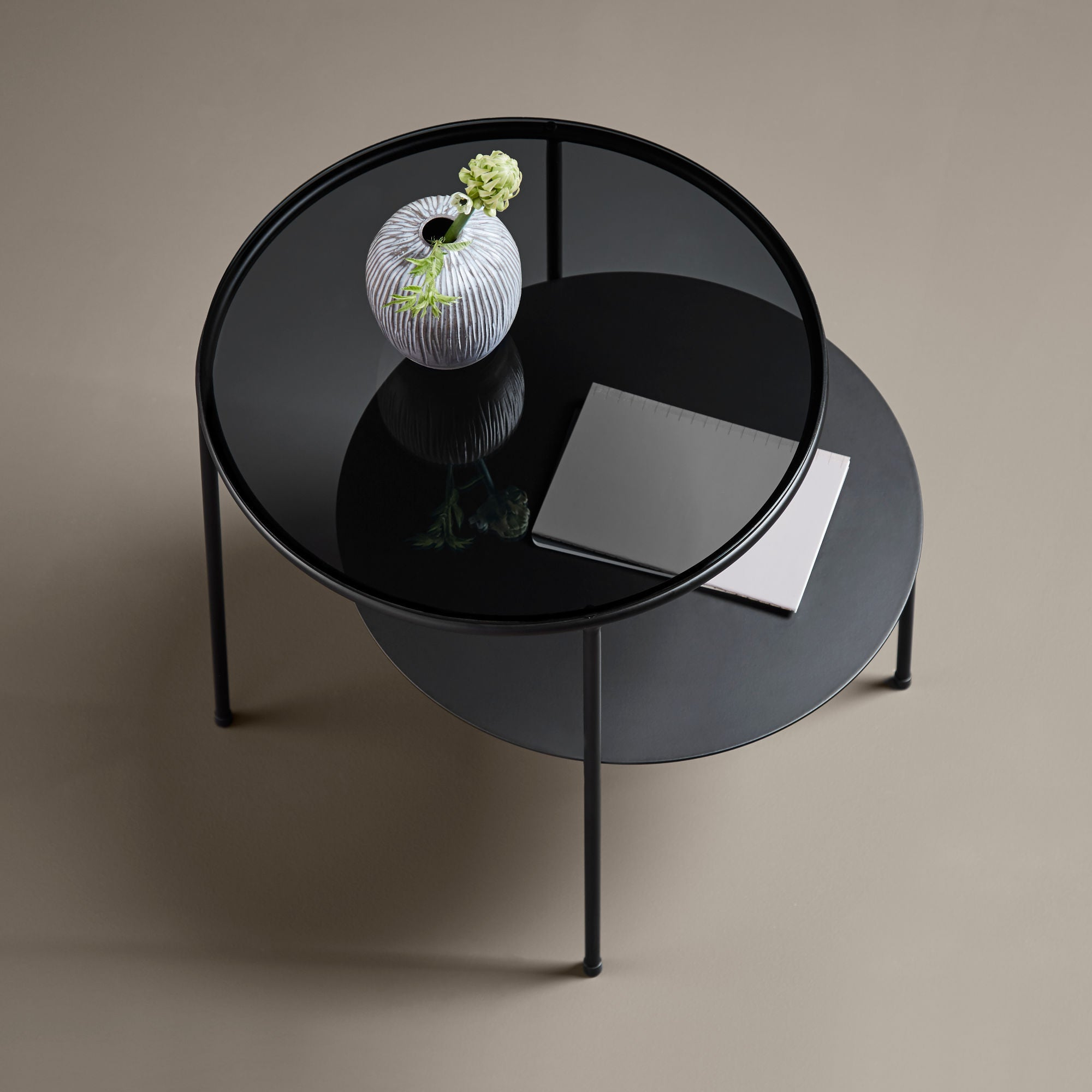 Woud Duo Side Table , Black-Dark Smoke Glass