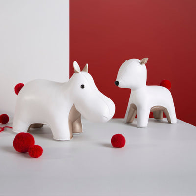 Zuny Red Pom Pom Hippo bookend , white-pearl gold