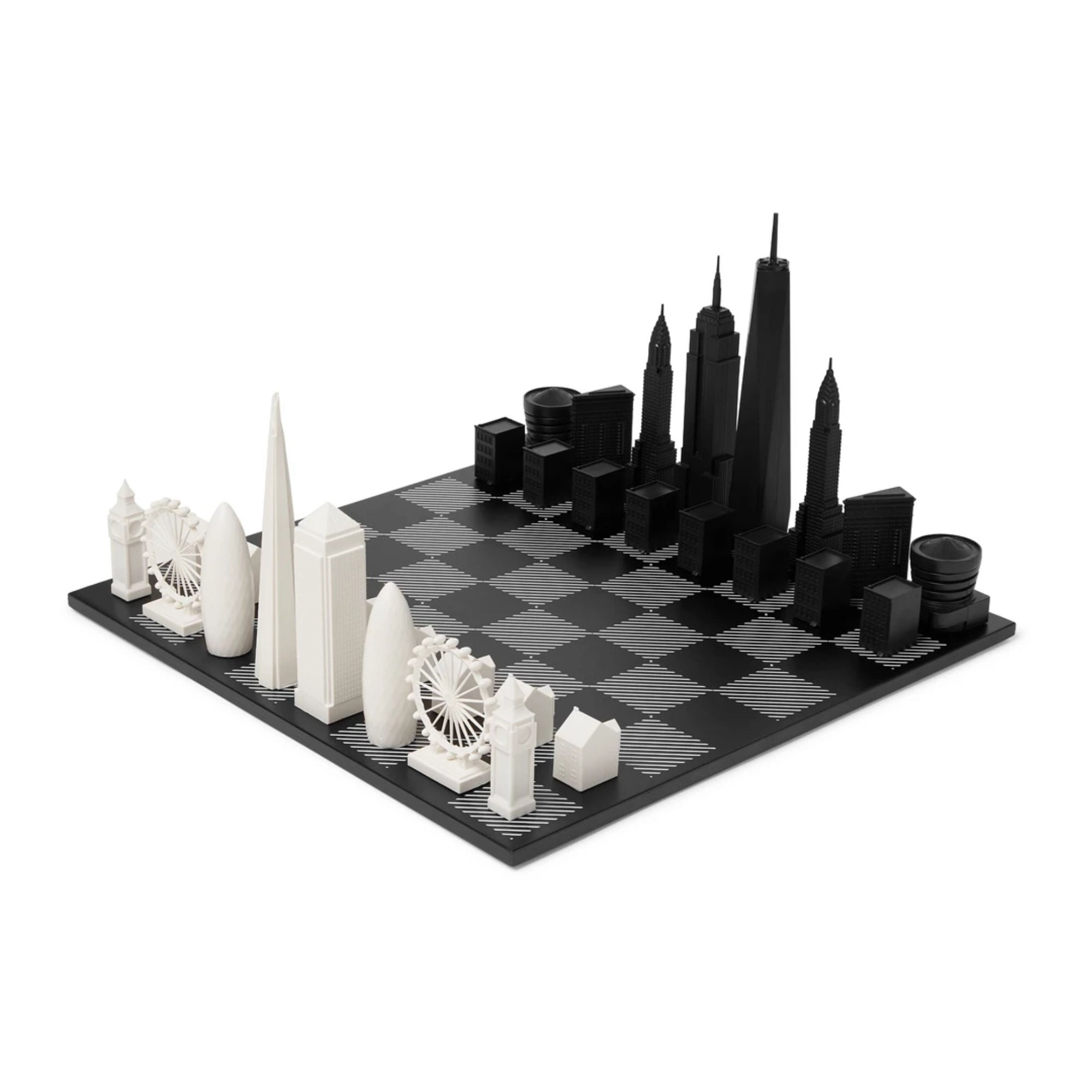 Skyline Chess London vs New York Acrylic and Wood Chess Set
