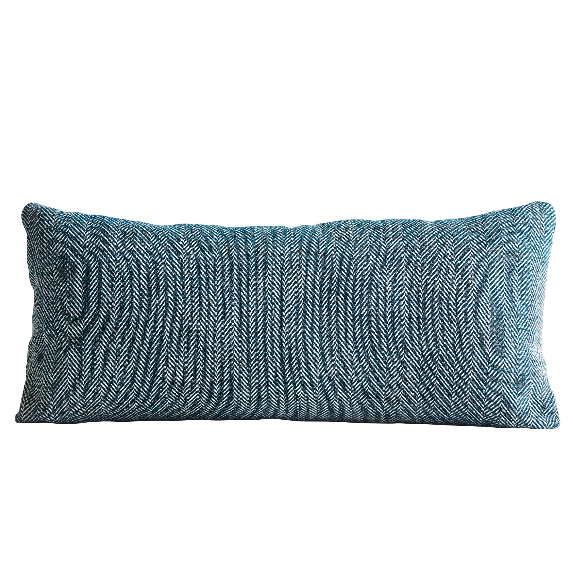 Woud Herrinbone Cushion , Petrol Blue