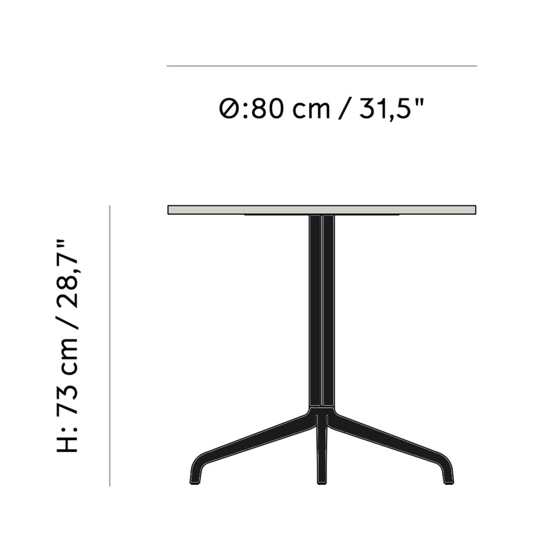 Menu Harbour Column Dining Table Star Base Dia80cm , Black Steel-Estremoz Marble