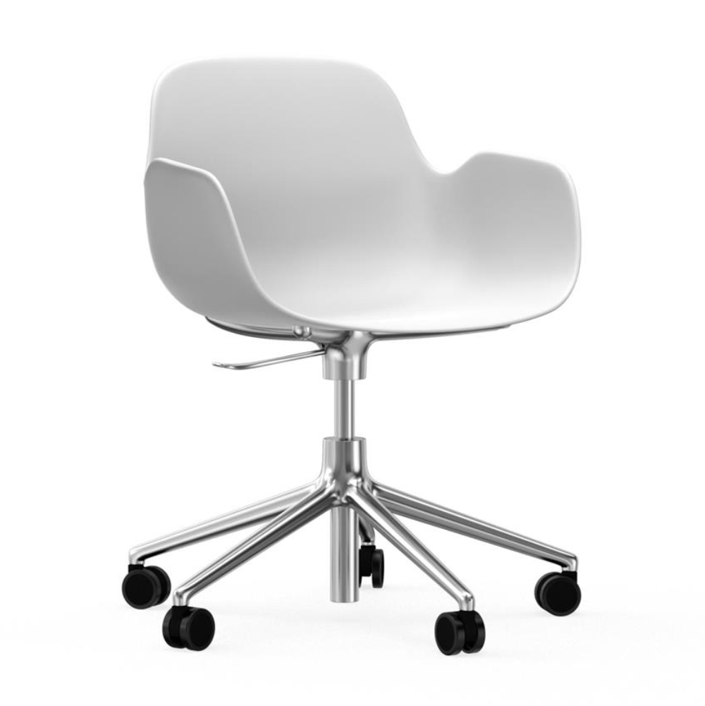 Normann Copenhagen Form Armchair 5-Wheel Swivel & Gaslift Aluminium Base