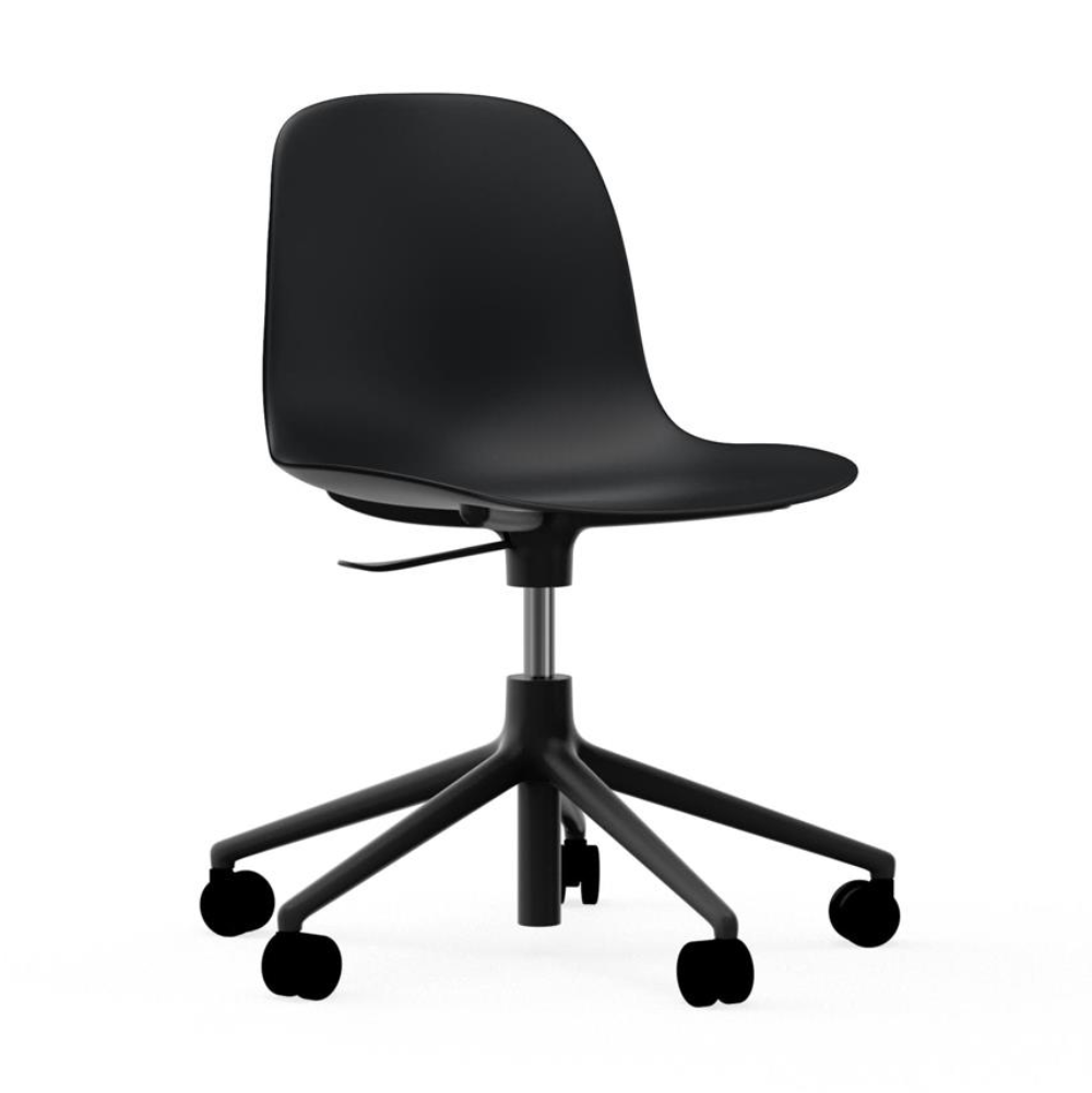 Normann Copenhagen Form Chair 5-Wheel Swivel & Gaslift Black Aluminium Base