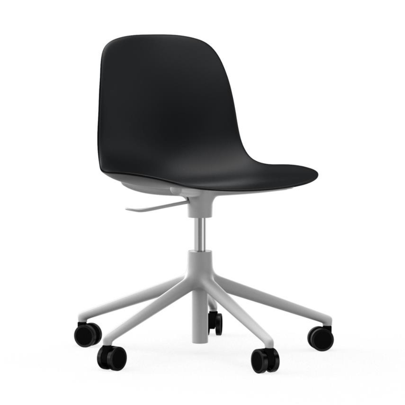 Normann Copenhagen Form Chair 5-Wheel Swivel & Gaslift White Aluminium Base