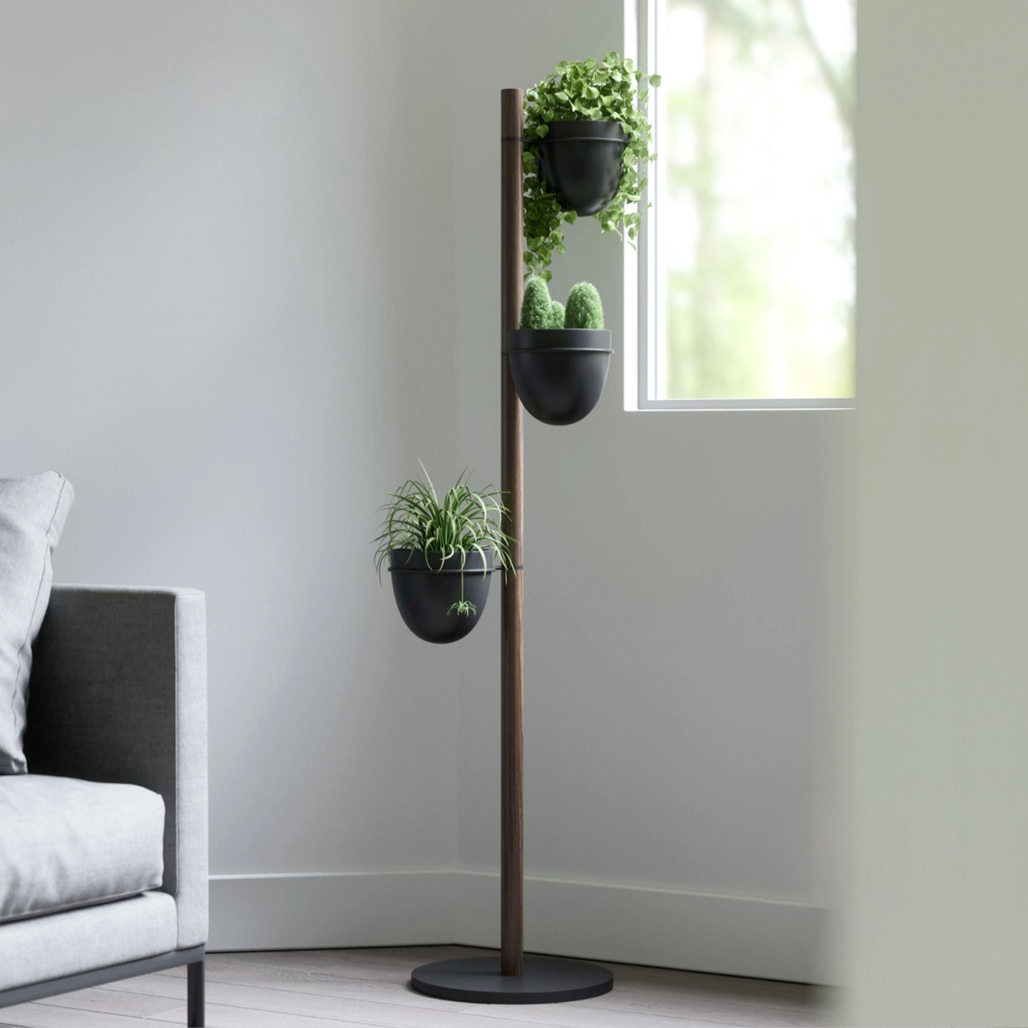 Umbra Floristand Planter , Black/Walnut