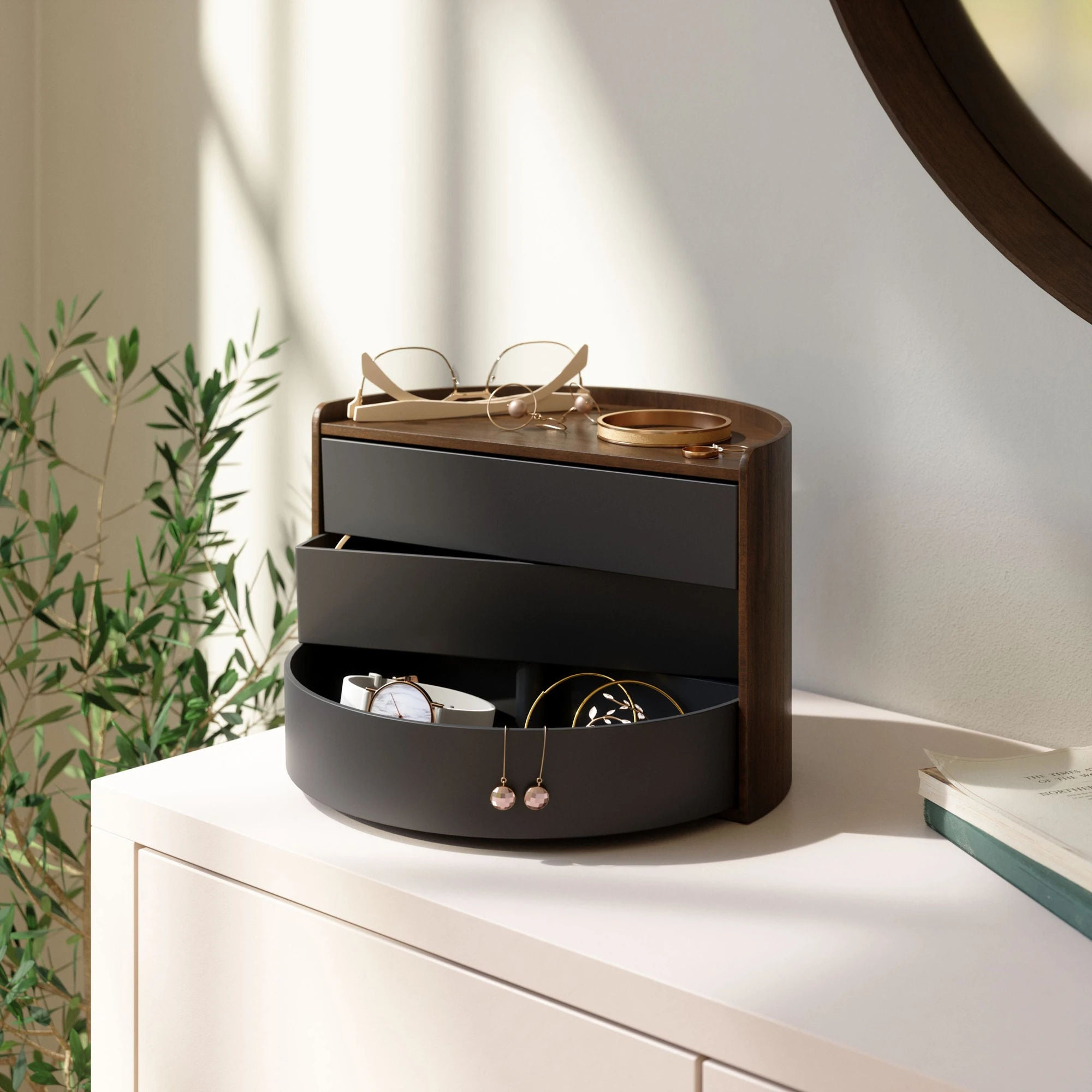 Umbra Moona Storage Box , Black/Walnut