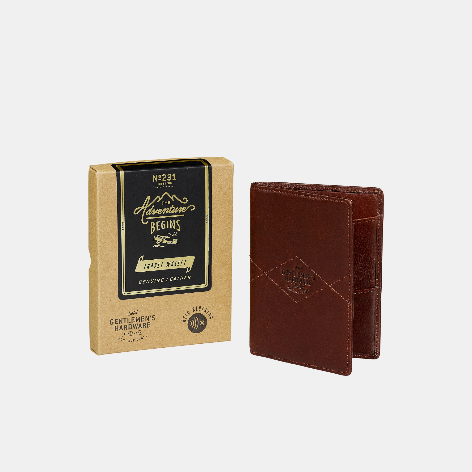 Gentlemen's Hardware RFID Travel Wallet Leather