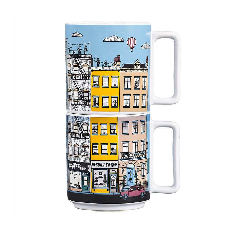 Heat-Sensitive City Life Mug Set of 2