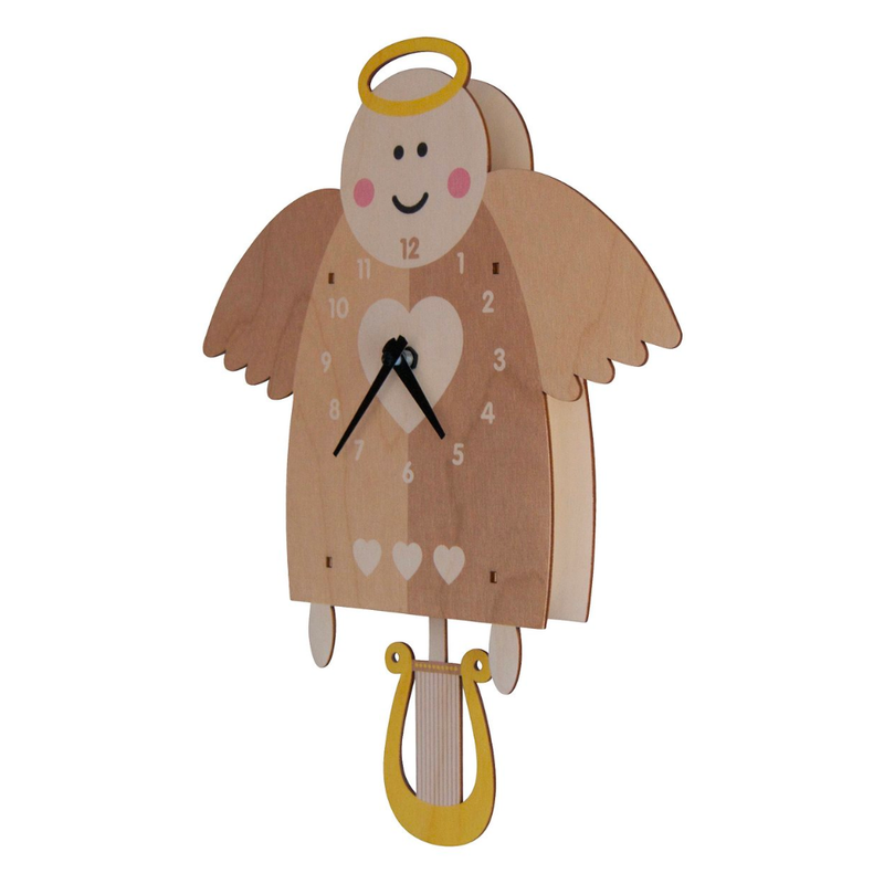 Modern Moose Angel Wooden Pendulum Clock