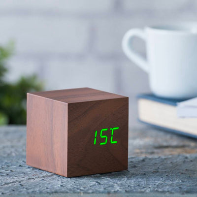 Gingko Cube Click Clock , Walnut-Green LED