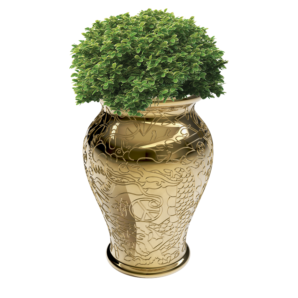 Qeeboo Ming Planter & Champagne Cooler Metal Finish
