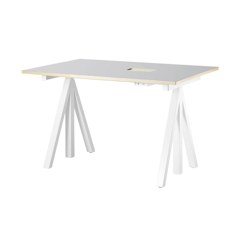 String Works™ Heigh-Adjustable Desk, Light Grey Linoleum (120x78 cm)