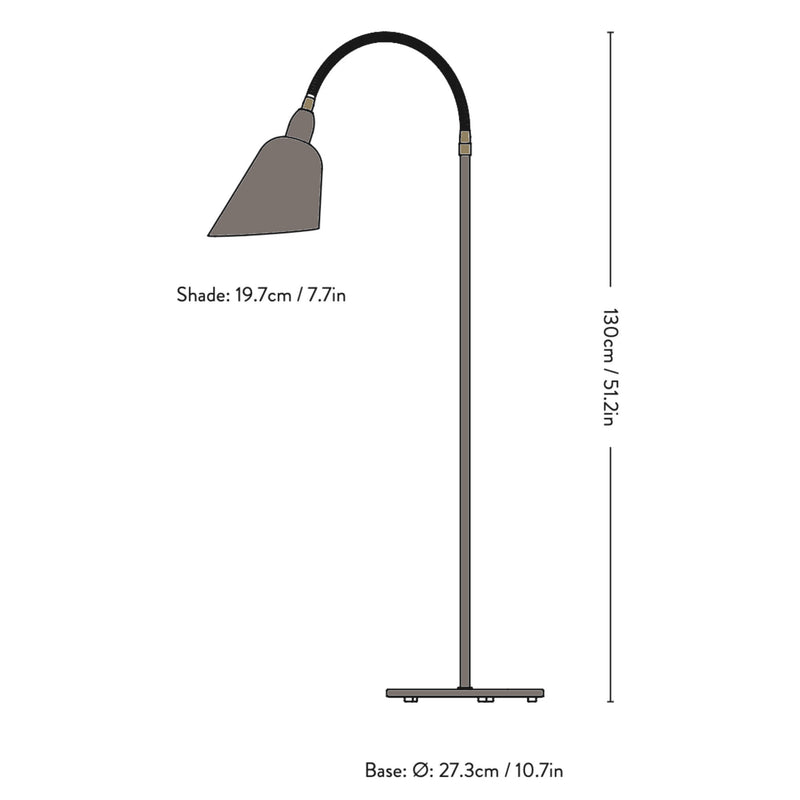 &Tradition AJ7 Bellevue Floor Lamp , Grey Beige/Brass