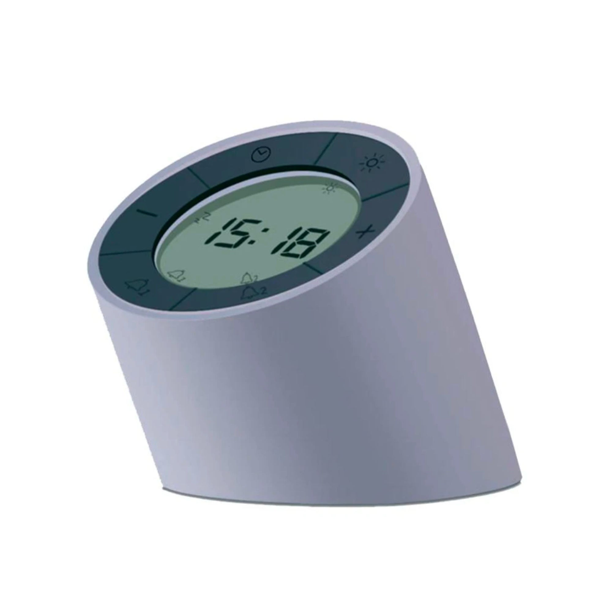 Gingko Edge alarm clock + night light, grey