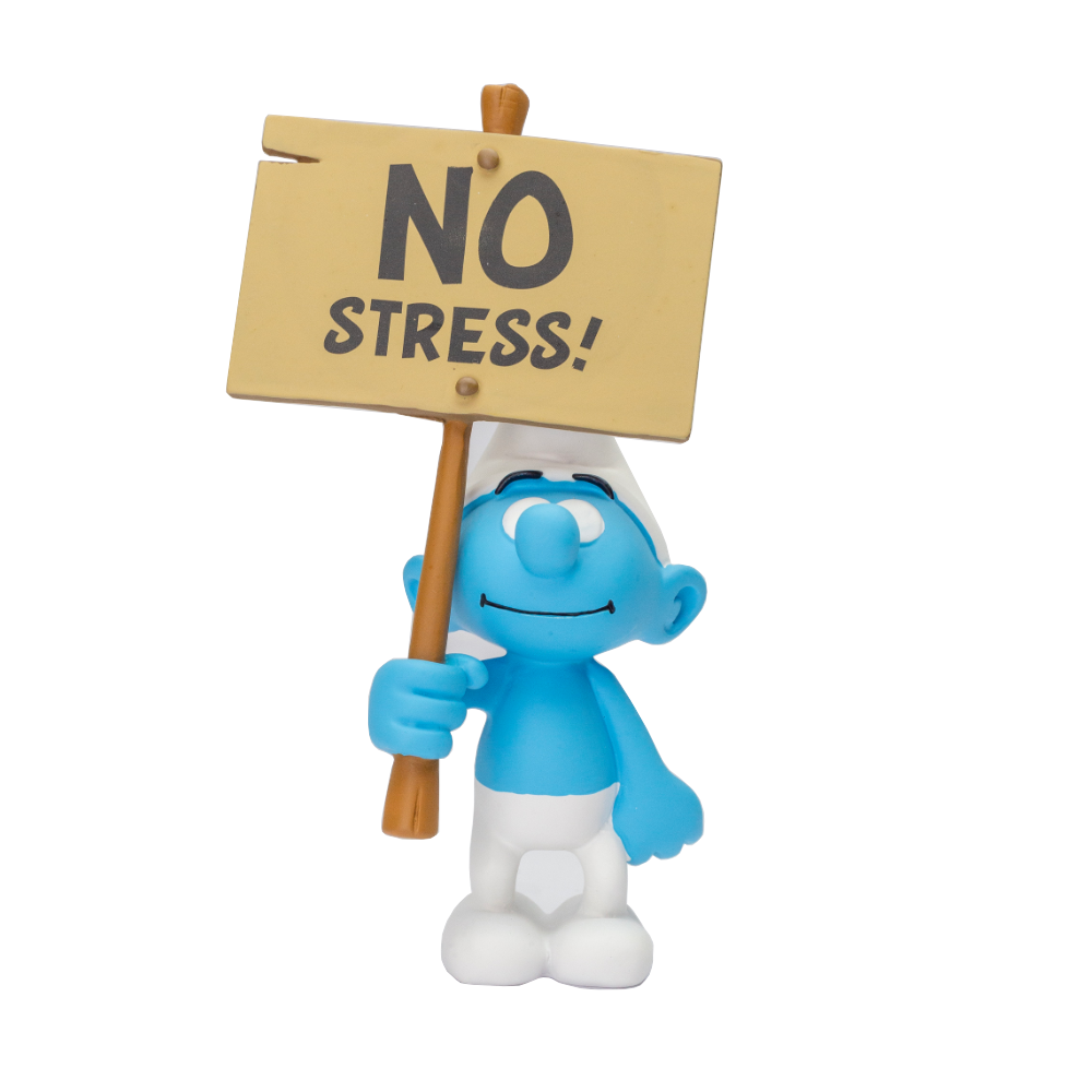 Plastoy Smurf with No Stress Sign h12cm