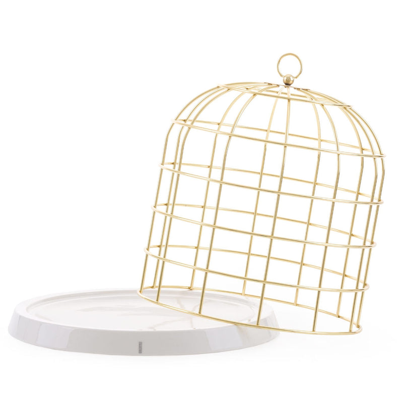 Seletti Twitable gold metal birdcage fruitbowl