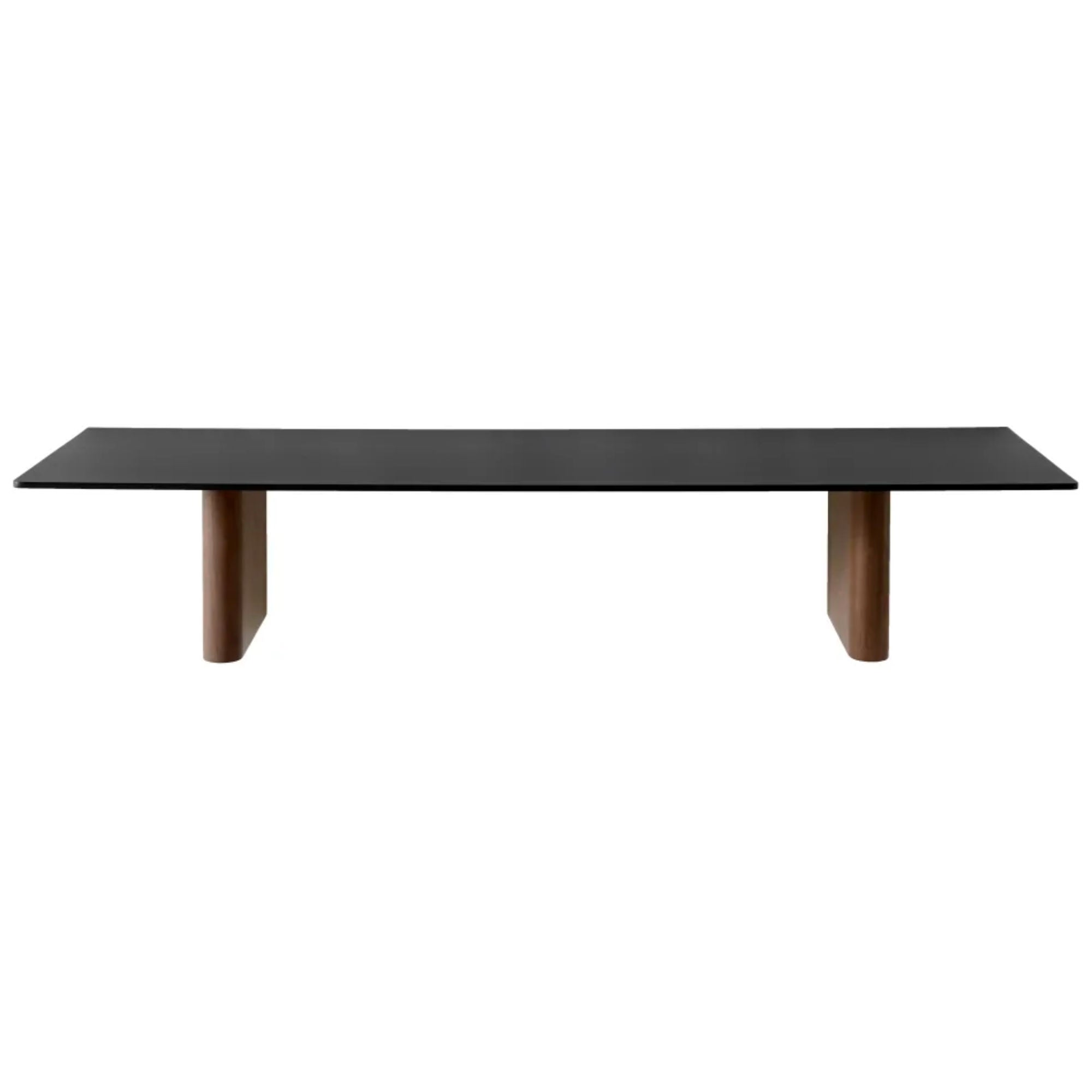 JA2 Column shelf, black anodised aluminium - solid walnut