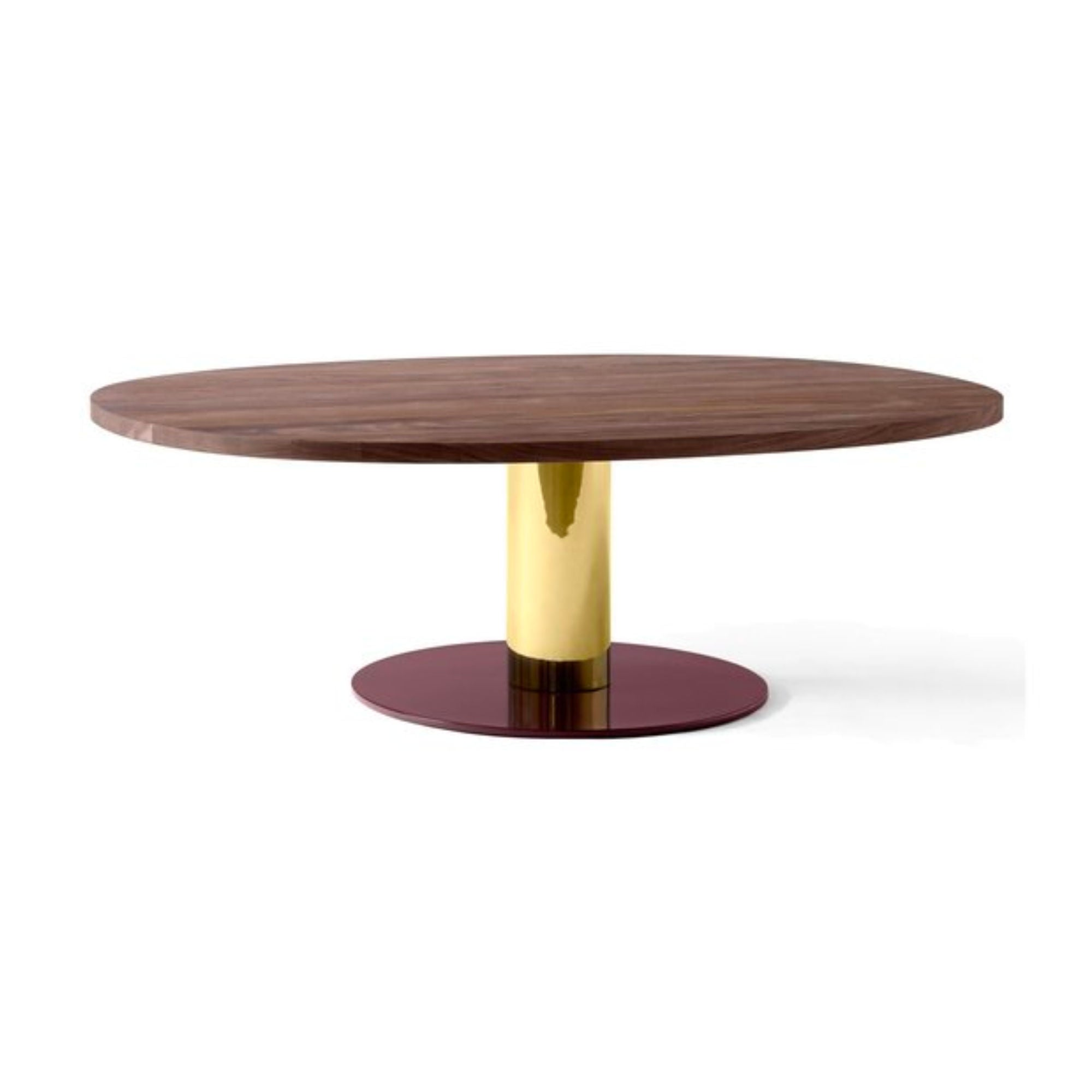 &Tradition JH21 Mezcla Coffee Table w120d90 , Walnut/Brass/Burgundy