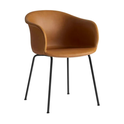 &Tradition Elefy JH29 chair, silk cognac leather, black tube base