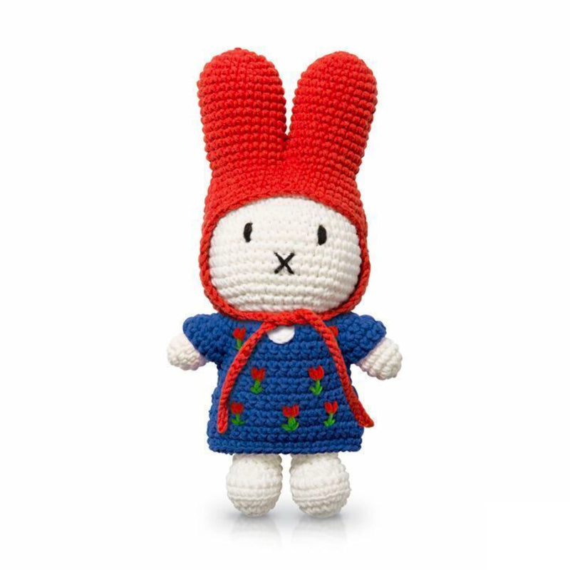 Just Dutch Handmade Doll Miffy , Blue Tulip Dress/Red Hat