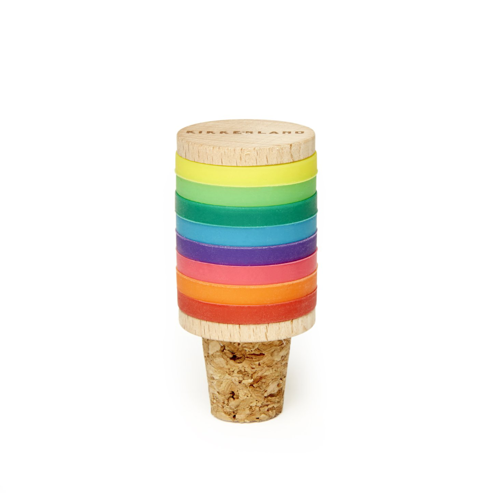 Kikkerland Rainbow Wine Rings & Stopper