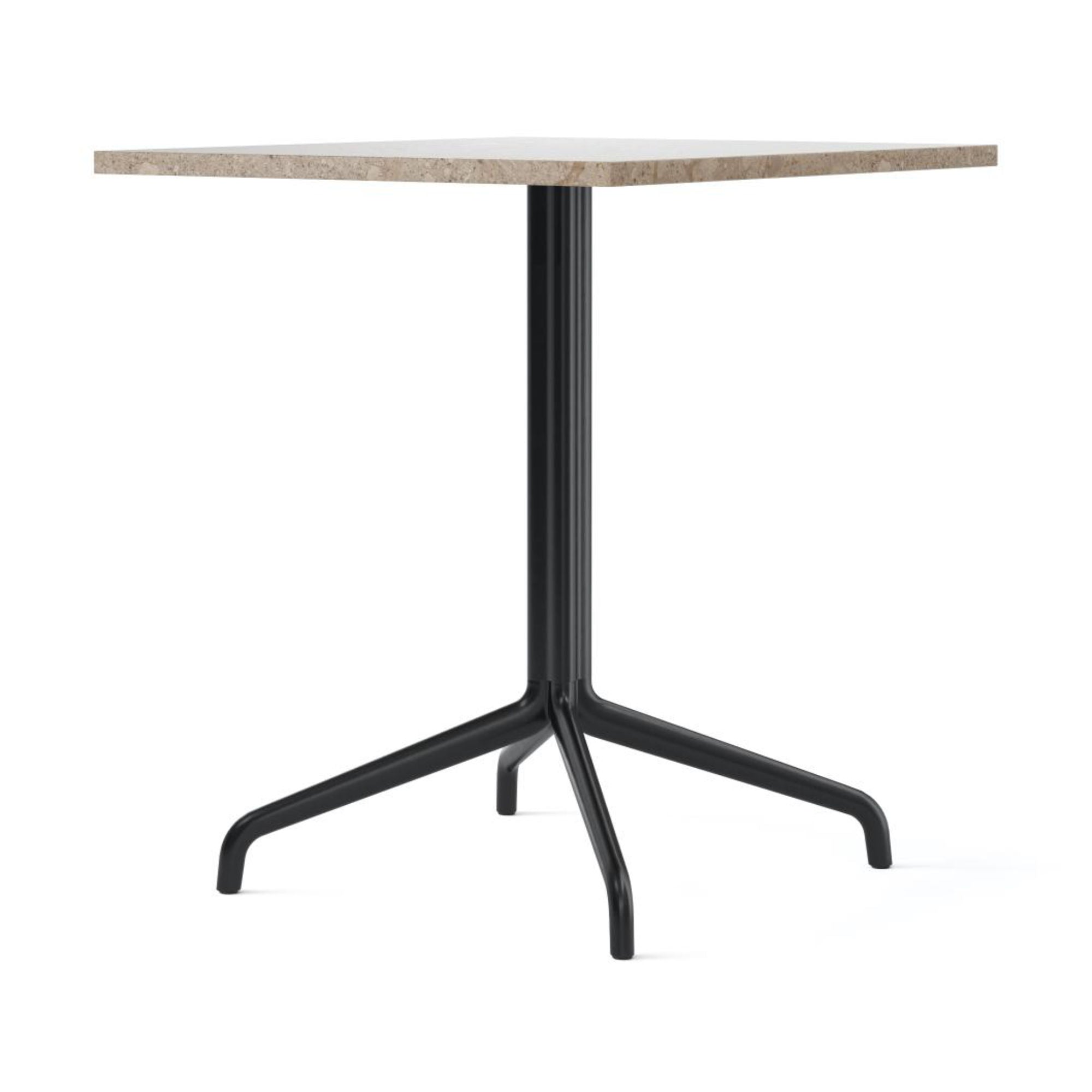 Menu Harbour Column Dining Table Star Base 70x60cm , Black Steel-Kunis Breccia Stone