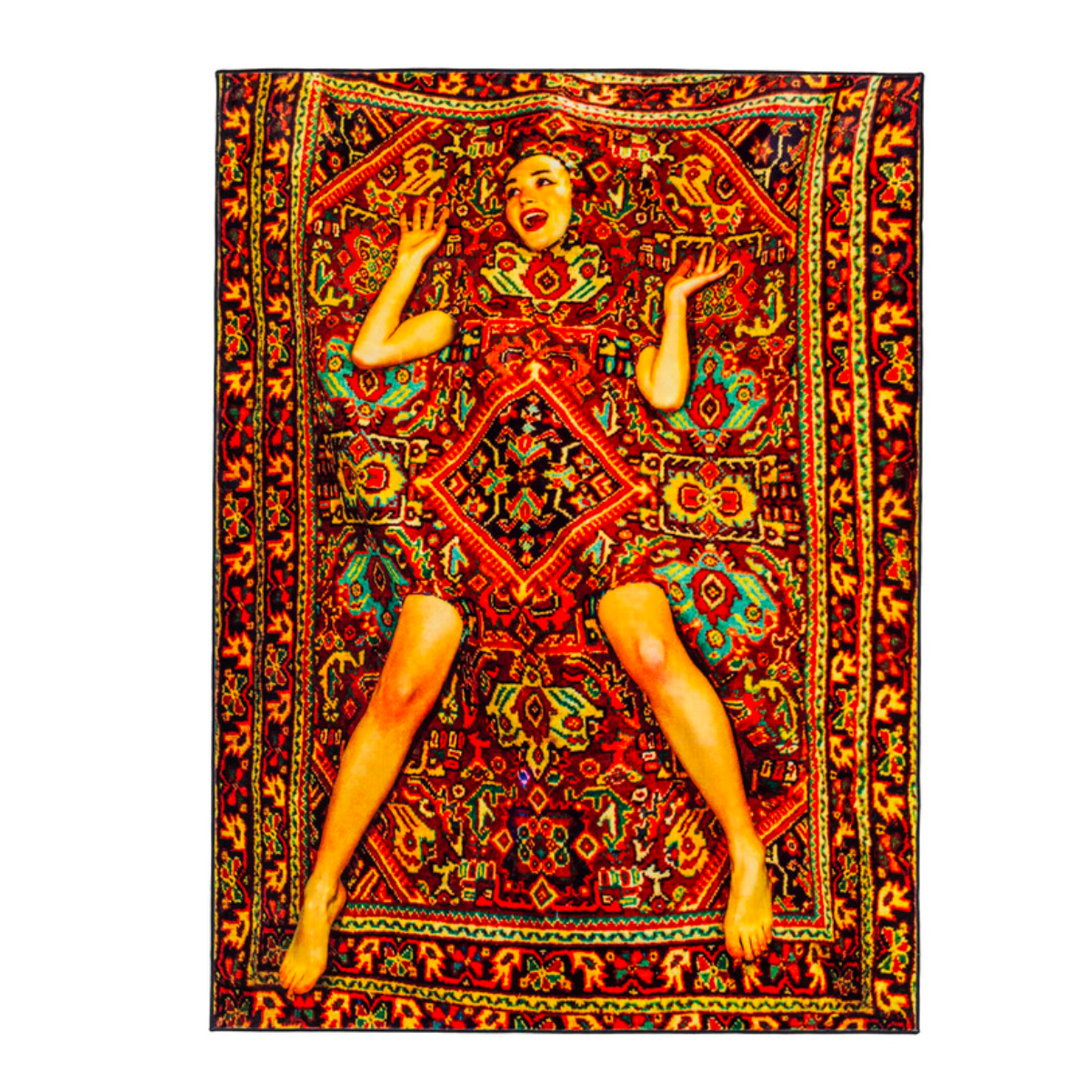 Seletti Toiletpaper rectangular rug lady on carpet